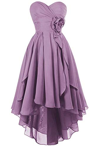 JAEDEN Prom Dress High Low Evening Gowns Chiffon Prom Gowns Strapless Sweetheart Evening Dresses with Flower Lavender