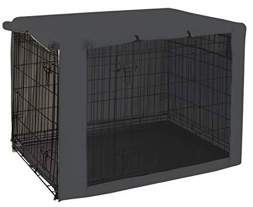Geyecete hond krat cover - huisdier kennel Covers universele pasvorm voor 63-124CM draad hond krat, lichtgewicht 100% polyester stof, ademende dubbele deur hond kooi cover, XL:(Long:106CM), Grijs