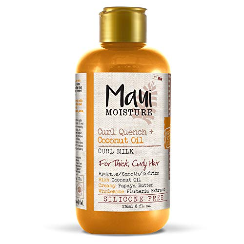 Maui Moisture Curl Quench + Coconut Oil Anti-Frizz Curl-Defining Hair Milk to Hydrate and Detangle Tight Curly Hair, Softening Leave-In Treatment, Vegan, Silicone- & Paraben-Free, 8 fl oz