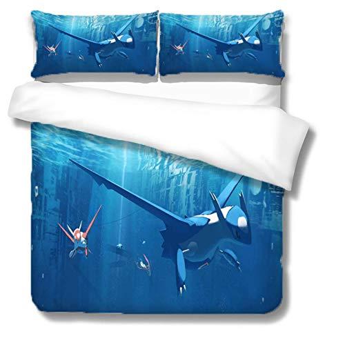 HKDGHTHJ Juego de funda nórdica 3D de 4 piezas Dragón Volador Azul Anime 220 x 230 CM Juego de ropa de cama Funda de edredón Sábana Fundas de almohada Juego de ropa de cama Ropa de cama Textiles para