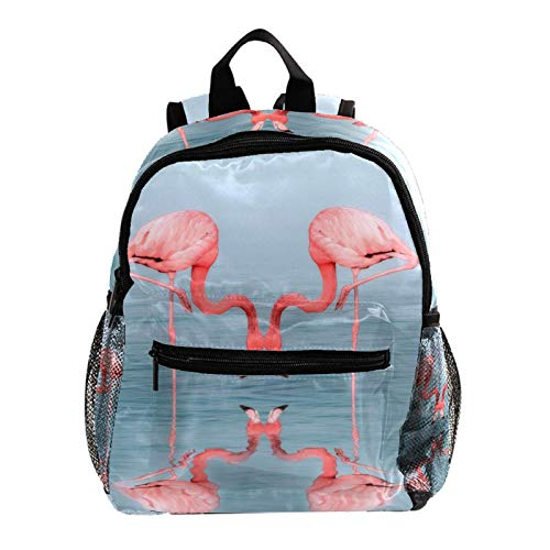 Zaino da ragazzo Riflessione del fenicottero dell'acqua Zainetto per bambini per Asilo o Tempo Libero/Mini Backpack 25.4x10x30 CM
