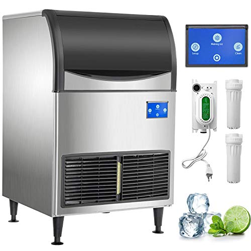 VEVOR 110V Commercial Ice Maker 265LBS/24H with 120LBS Bin, Advanced Intelligent LCD Panel, Full Clear Cube, Air-Cooled, Include 2 Water Filters and Electric Drain Pump, 2 Scoops, Connection Hose