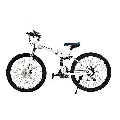 DOMDIL - Vélo de Montagne Pliable pour Hommes et Femmes Adultes, Vélo de Sport de Montagne, VTT avec 24 E'tapes de Changement de Vitesse, 26 Pouces avec Roue à Rayons, Blanc