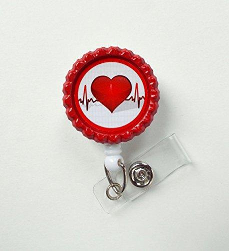 Heartbeat Bottle Cap Badge - Nursing Badge Holder - RN Badge Reel - Nurse Name Badge - Nurses Badge - Cute ID Badge Reel - Nursing Badge Photo #2