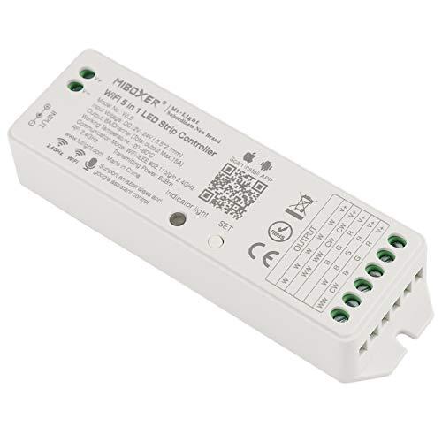 LTRGBW DC12-24V LED WiFi controlador 5 en 1 LED regulador inalámbrico para RGBW WW/CW RGB-CCT RGBWY tira de luz LED compatible con Amazon Alexa Control de voz