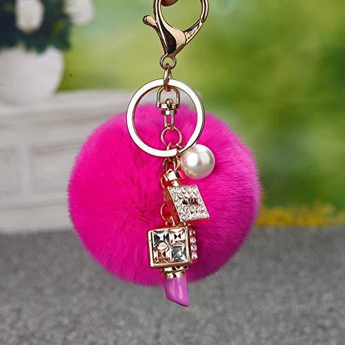 Llavero colgante de piel de conejo con pompones de perlas de Canadá a granel pintalabios de diamantes de imitación llavero para mujer bolsa colgante llavero llavero (color: 01)