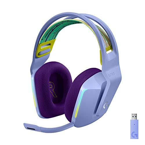 Logitech G733 Lightspeed Wireless Gaming Headset with Suspension Headband, LIGHTSYNC RGB, Blue VO!CE mic Technology and PRO-G Audio Drivers - Lilac