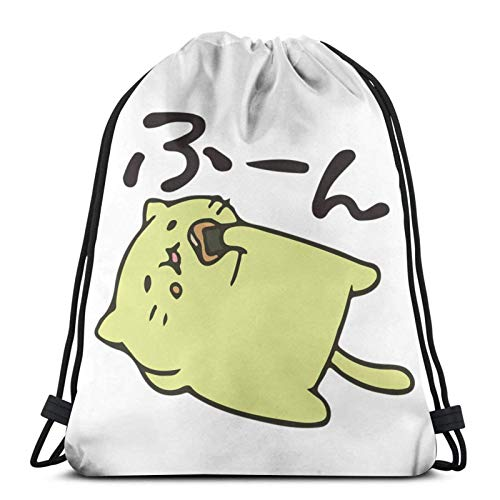 LREFON Drawstring Bag Lazy Neko Gym Sack School Bag For Backpack