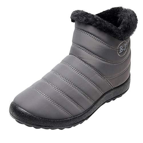 Damen Winter Warm Wasserdicht Schneestiefel Halten Stiefeletten Flache Schuhe rutschfeste Sohle,Frauen Flexibel Flache Schuhe Bequem Steppdecke Stiefel(Grau,41 EU)