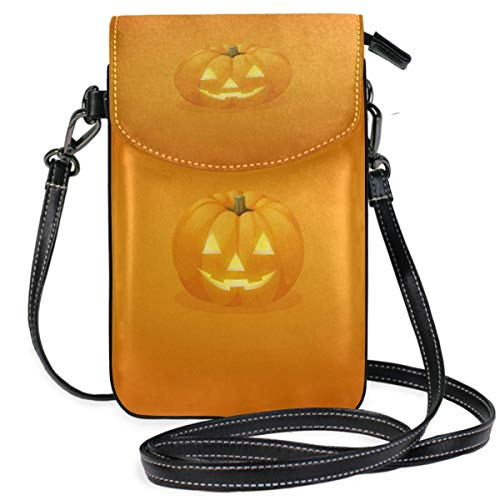 XCNGG bolso del teléfono Small Crossbody Coin Purse Halloween Theme Smiling Face Pumpkin Phonepurse for Women Bags Leather Multicolor smart phone Bags Purse With Removable Strap