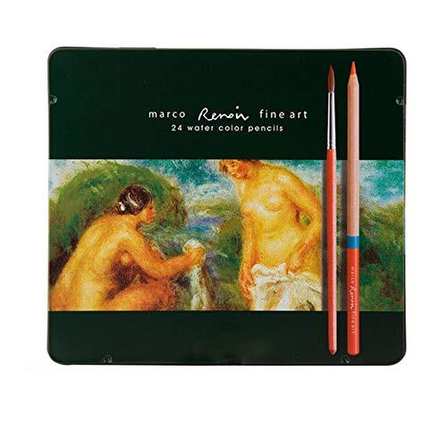 24 Crayon de Couleurs Aquarelles Numérotés Set Aquarellables Uniques Pré-taillé pour Coloriage en Boîte en Métal Cadeau pour Les Adultes Enfants Artistes,24(Soluble-in-Water),2B