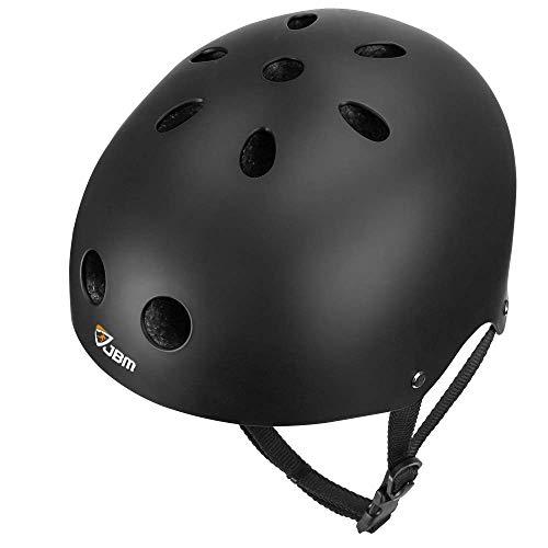 JBM Skateboard-Helm, CPSC, ASTM-zertifiziert, Stoßfestigkeit, Belüftung für Multi-Sport, Radfahren, Skateboarding, Roller, Inlineskaten, Rollerblading, Longboard (schwarz, groß)