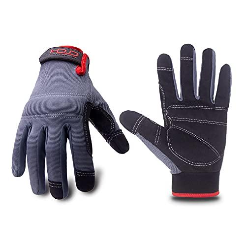 Euglove Herren Arbeitshandschuhe feste Griffhandschuhe Mechanikerhandschuhe mit Touchscreen, Konstruktion Handschuhe, leichte Sicherheitsarbeitshandschuhe(L, grau)