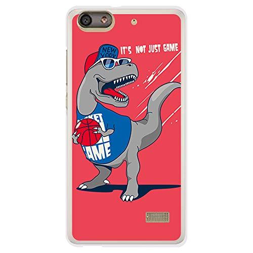 BJJ SHOP Funda Transparente para [ Huawei G Play Mini ], Carcasa de Silicona Flexible TPU, diseño: Dinosaurio Jugando Baloncesto