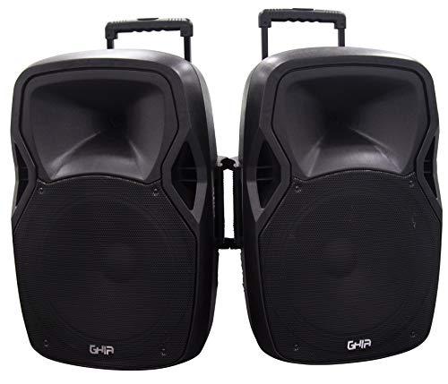GHIA Combo de Bafles GSP-15AP - Bocina de 15' Activo Pasivo - Bluetooth - USB - Micro SD - AUX - Radio FM - Luces LED,