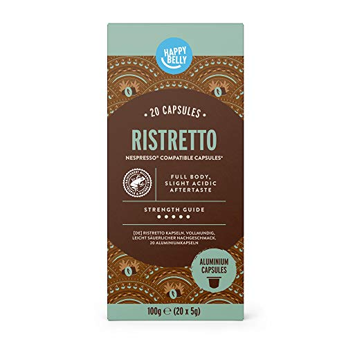 Marchio Amazon - Happy Belly Ristretto Caffè tostato e macinato in capsule, in alluminio, compatibili Nespresso, 20 capsule (1x20) - Rainforest Alliance