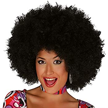 3256-P103 XXL Enorme Parrucca Afro Donna Uomo Carnevale Voluminosa Nero Anni 70 WIG ME UP /®