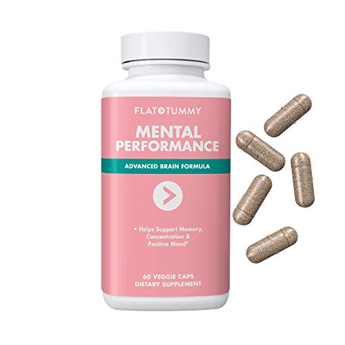 Flat Tummy Mental Performance, Nootropic Supplement - Focus, Concentration, Memory Blend, Positive Mood + Bacopa, L-Theanine, Ginkgo (60 caps)
