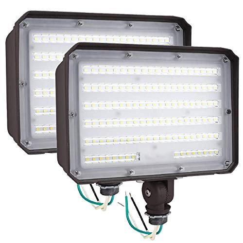 2Pack Dusk to Dawn Outdoor 100W LED Flood Light with Knuckle, 14000LM 1000W Equivalent, 100-277V 5000K Daylight, ETL Commercial Waterproof LED Flood Light Fixture, Security Lighting for Parking Lot