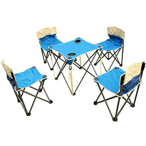 JKL- Notebookständer Outdoor Klapptisch und Stuhl Set Angeln Stuhl Hocker Portable Picknicktisch Stuhl 1 Tisch 4 Stühle (Color : Blue Tables+Chairs)