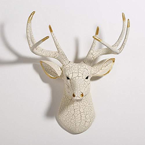 JYJYJY Escultura Figuritas Decorativas Escultura Decoración Figuritas Decoración De La Estatua del Hogar Accesorios Vintage Mármol Texturizado Alce Cabeza De Alce Cráneo Sala De E