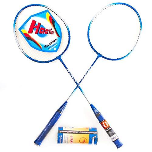AX Esportes Kit Badminton c/ 2 Raquetes e 3 Petecas PRO , Azul