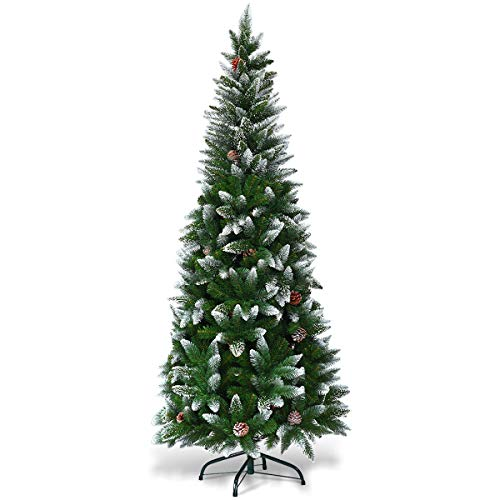Goplus 5ft Artificial Pencil Christmas Tree, Snow Flocked with Pine Cones and Metal Stand, for Xmas Indoor and Outdoor Décor