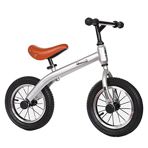 HLEZ Bicicleta De Equilibrio De 12 Pulgadas Liviana Sin Pedales Correpasillos para Equilibrio Sillín Regulable con Ruedas De Goma EVA para Niños De 2 Años,Plata