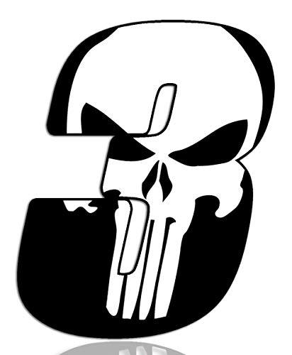 Biomar Labs® Número 3 Punisher Calavera Vinilo Adhesivo Pegatina Coche Auto Motocross Moto Sport Start Racing Tuning N 363