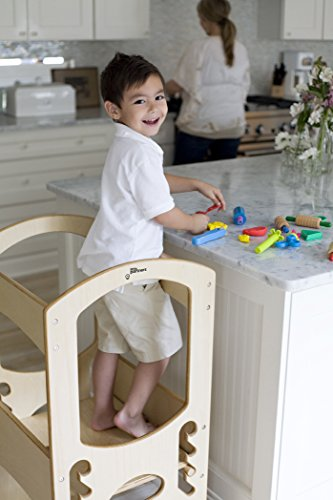 Little Partners Kids Learning Tower Child Kitchen Stool Helper Adjustable Height Step Stool, Wooden Frame, Counter Step-Up Active Standing Tower (Natural)