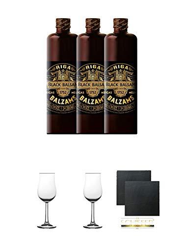 Riga Black Balsam Kräuterlikör 3 x 0,5 Liter + 2 Bugatti Nosing Gläser mit Eichstrich 2cl und 4cl + 2 Schiefer Glasuntersetzer eckig ca. 9,5 cm Ø