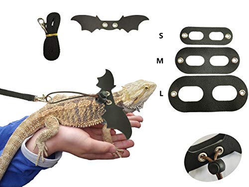 Bearded Dragon Lizard Harness with Cool Wings and Adjustable Leash-3 Size Pack, Suitablefor Squirrel Iguana Dutch Pig Reptiles on Chest