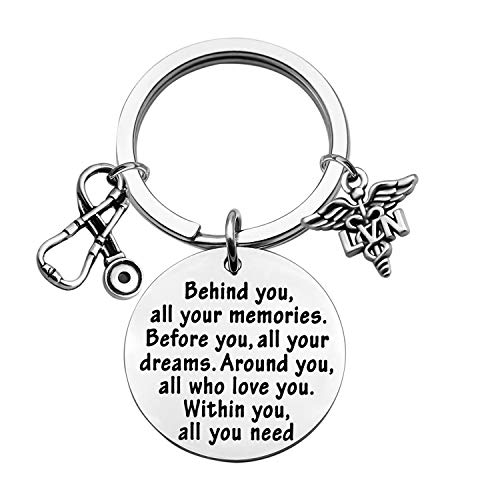 FEELMEM LVN Keychain LVN Graduation Gifts Behind You All Memories Before You All Your Dream Keychain LVN Gift Nurse Inspirational Gifts (LVN)