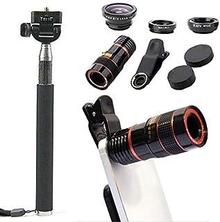 CHAW 10 in 1 Phone Camera Lens Kit,8/12X Zoom Telephoto Lens + Wide Angle + Macro & Fisheye Lens+ Phone Holder Tripod + Se...