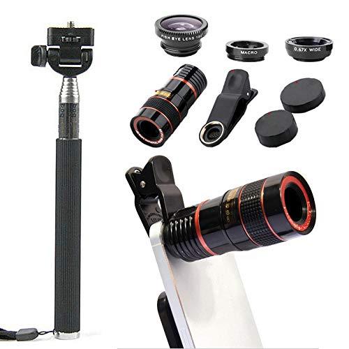 DANQI 10 en 1 Kit de lente de cámara de teléfono, lente de teleobjetivo con zoom 8/12 X + gran angular + lente macro y ojo de pez, trípode para teléfono + palo selfie con mando a distancia Bluetooth para todos los teléfonos