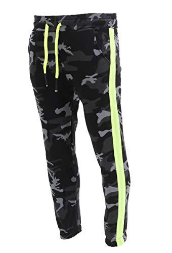 Herren Jogginghose Trainingshose Sport Fitness Gym Training Slim Fit Sweatpants Streifen Jogging-Hose Stripe Pants Modell 1211C JK (Camo Dark, S)