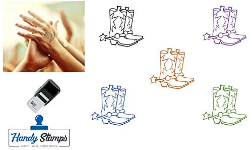 Rodeo/Cowboy Boots/Country and Western Hand Stamp - Suitable for Festivals, Parties, Clubs, Special Events, Bars etc. (Violet)