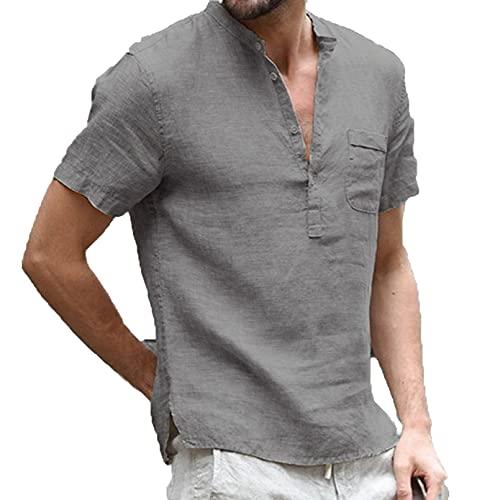 GTHTTT Henley Camiseta para Hombre con Botones Manga Corta Escote en Pico Color sólido T-Shirts División Lateral Tops con Bolsillo Frontal,Gris,L