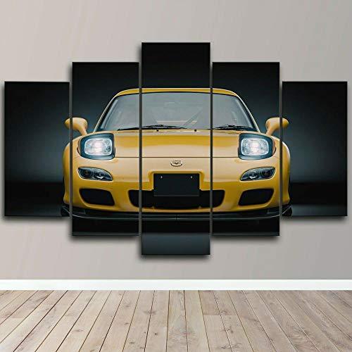 HFDSA Colores Cuadro En Lienzo Imagen Mazd Rx7 JD Sports Car 5 Piezas HD Lienzo Arte De La Pared...