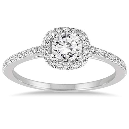 3/4quilates de diamantes de halo anillo de compromiso en oro blanco de 14K