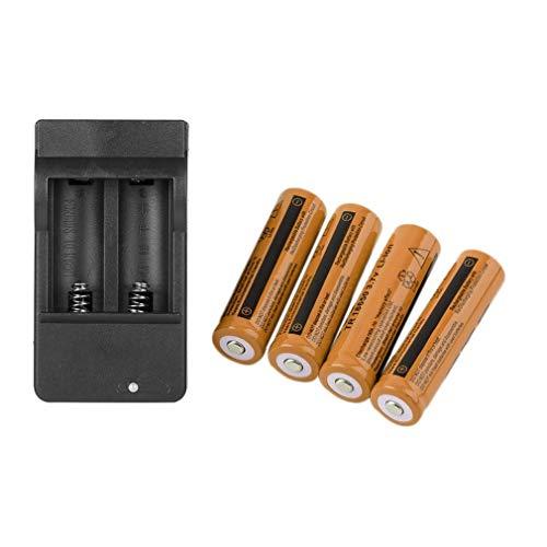 Batería recargable de iones de litio 4 x 18650 3,7 V y 99 mAh + cargador inteligente de 4 ranuras con 4 indicadores LED, enchufe americano
