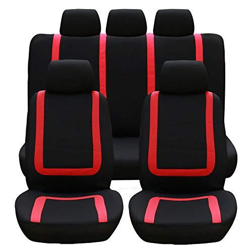 Stoelhoezen voor auto, stoelhoezen van polyester, airbag, compatibel met alle stoelen, universele accessoires voor auto, set van 9 stuks, universeel voor alle seizoenen, rood
