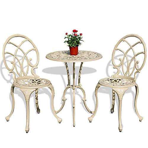 Set da taverna per terrazza tavolo e sedie da giardino, 3 pezzi mobili da esterno in alluminio pressofuso antiruggine per esterni Portico balcone cortile con posti a sedere e tavolo da chat