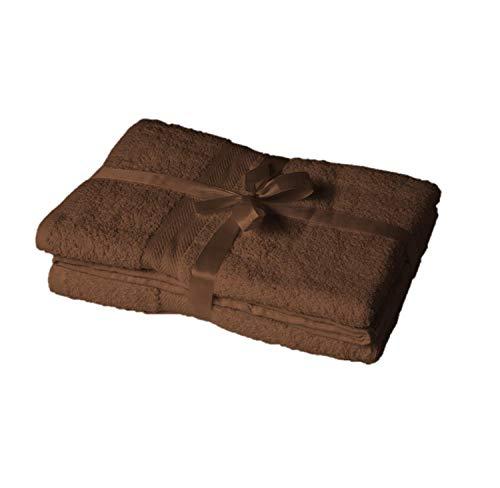 EXKLUSIV HEIMTEXTIL – Ensemble de serviettes de toilette avec nœud – Marque de coussins de sièges et de chaises longues de jardin, Tissu, chocolat, Saunatuch 2er Set 80 x 200 cm