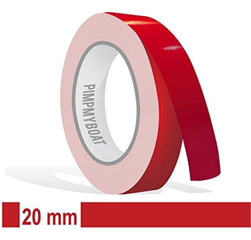 Siviwonder Zierstreifen rot Karmin Glanz in 20 mm Breite und 10 m Länge Aufkleber Folie für Auto Boot Jetski Modellbau Klebeband Dekorstreifen - Karminrot