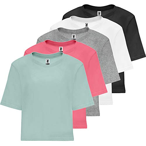ROLY Camiseta Diseño Mujer (Pack 5) | Talle Corto y Holgado | Oversize | 100% Algodón (5 Colores, M)