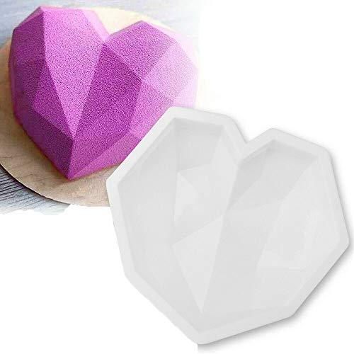 Gsdxz 3D Diamond Geometric Love Heart Shape Silicone Mould,Chocolate Candy Cake Baking Diamond Heart Shape Mould