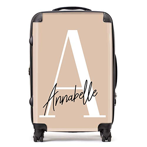 Personalised Nude & White Initial Large Monogram Handwritten Custom Suitcase with TSA Lock 4 Spinner Wheels Luggage 68cm 80Ltr