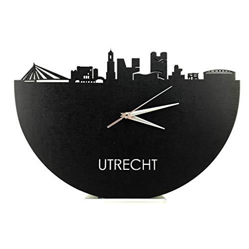 Skyline Klok Utrecht Zwart hout - Ø 40 cm - Woondecoratie - Wand decoratie woonkamer