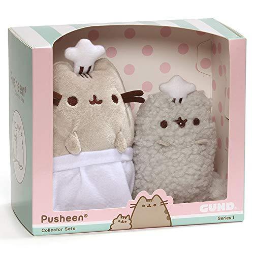 GUND Pusheen and Stormy Baking Plush Stuffed Animals, Collector Set of 2, Gray